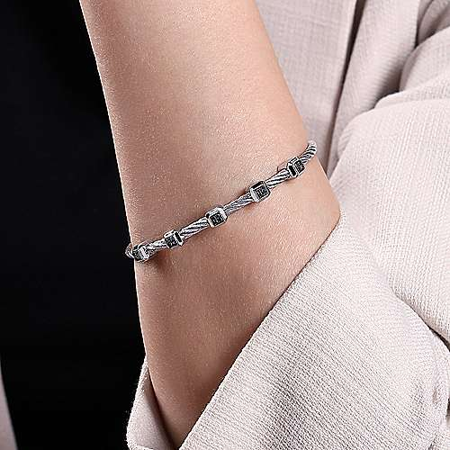 Twisted Cable Stainless Steel Bangle with Sterling Silver and Black Diamond Square Stations