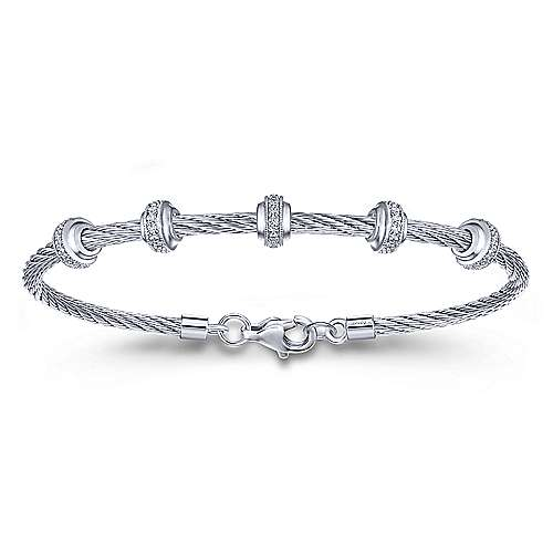 Twisted Cable Stainless Steel Bangle with Sterling Silver and Diamond Rondelle Stations