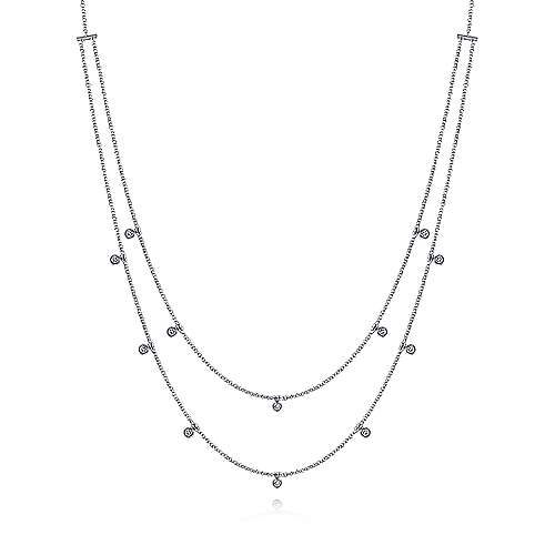 Two Row 14K White Gold Necklace with Diamond Drops