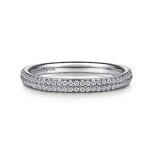 Two Row Platinum Diamond Anniversary Band
