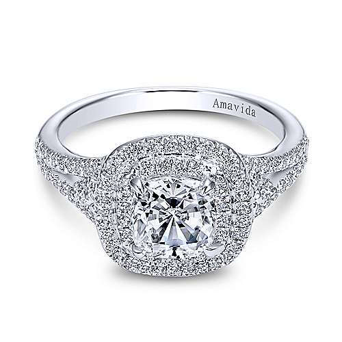 Tyler 18k White Gold Cushion Cut Double Halo Engagement Ring ... faab72fb568d
