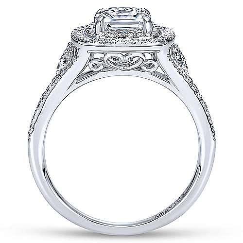 Tyler 18k White Gold Cushion Cut Double Halo Engagement Ring angle 2