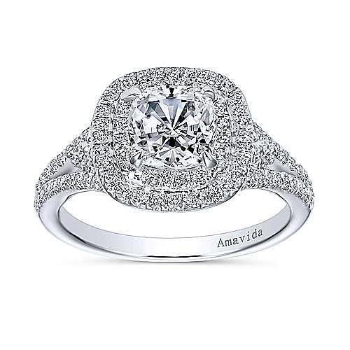 Tyler 18k White Gold Cushion Cut Double Halo Engagement Ring angle 5