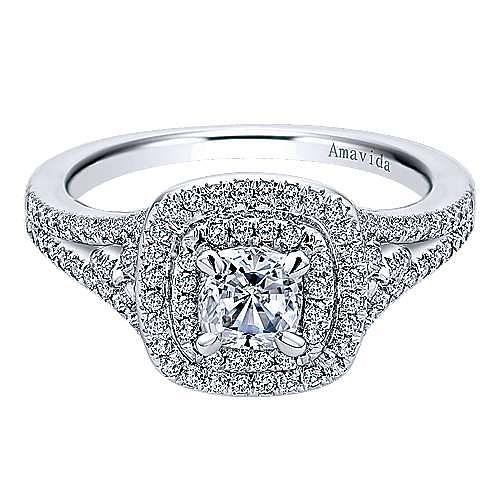 Tyler 18k White Gold Cushion Cut Double Halo Engagement Ring angle 1