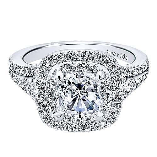 Gabriel - Tyler 18k White Gold Cushion Cut Double Halo Engagement Ring