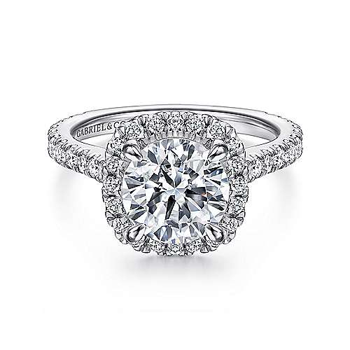 Gabriel - Tyra 14k White Gold Round Halo Engagement Ring