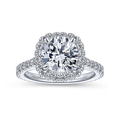 Tyra 14k White Gold Round Halo Engagement Ring angle 5