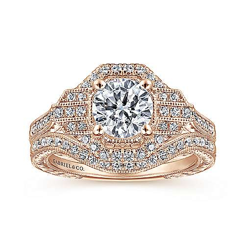 Unique 14K Rose Gold Art Deco Halo Diamond Engagement Ring