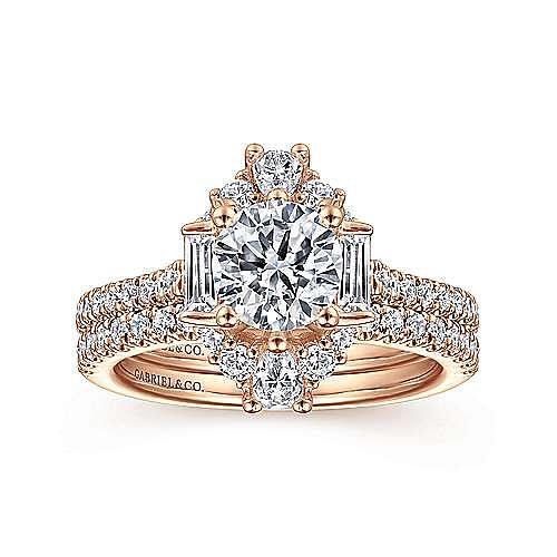 Unique 14K Rose Gold Art Deco Halo Engagement Ring