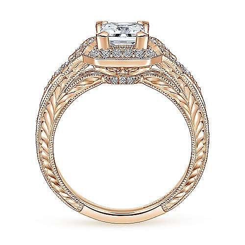 Unique 14K Rose Gold Art Deco Princess Cut Halo Diamond Engagement Ring