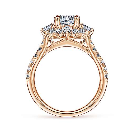 Unique 14K Rose Gold Halo Diamond Engagement Ring