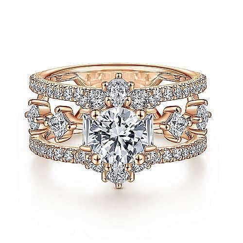 Unique 14K Rose Gold Halo Diamond Engagement Ring