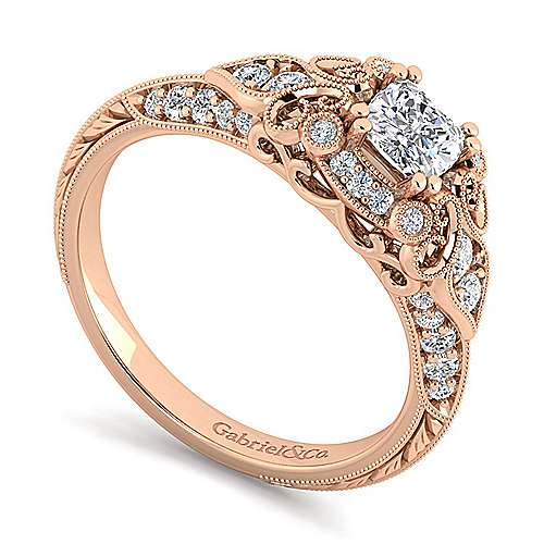 Unique 14K Rose Gold Vintage Inspired Cushion Cut Diamond Halo Engagement Ring