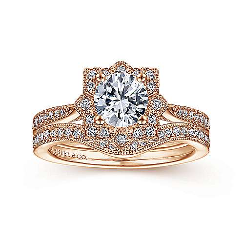 Unique 14K Rose Gold Vintage Inspired Halo Diamond Engagement Ring