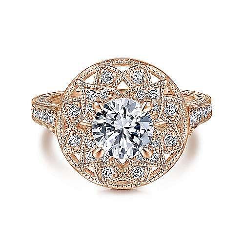 Unique 14K Rose Gold Vintage Inspired Halo Diamond Engagement Ring