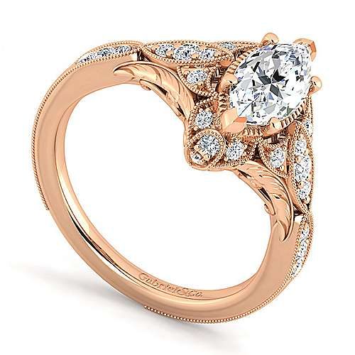 Unique 14K Rose Gold Vintage Inspired Marquise Shape Diamond Halo Engagement Ring