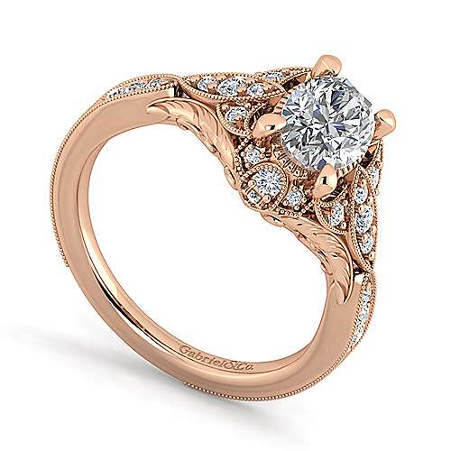 Unique 14K Rose Gold Vintage Inspired Oval Halo Diamond Engagement Ring