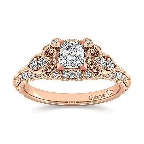 Unique 14K Rose Gold Vintage Inspired Princess Cut Diamond Halo Engagement Ring