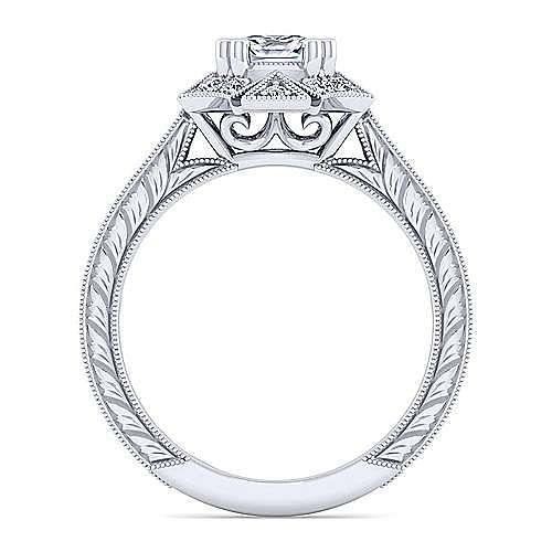 Unique 14K White Gold Art Deco Cushion Cut Halo Diamond Engagement Ring