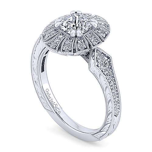 Unique 14K White Gold Art Deco Cushion Cut Halo Engagement Ring