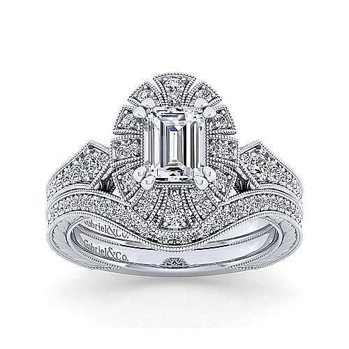Unique 14K White Gold Art Deco Emerald Cut Halo Diamond Engagement Ring