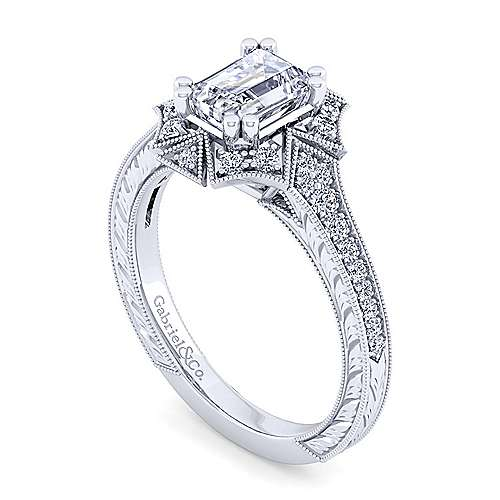 Unique 14K White Gold Art Deco Emerald Cut Halo Engagement Ring