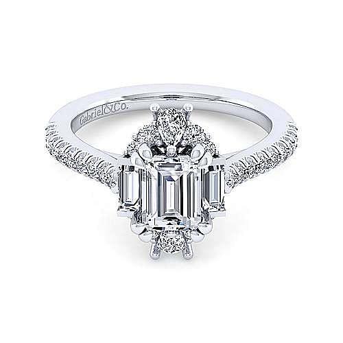 Unique 14K White Gold Art Deco Emerald Cut Halo Engagement Ring