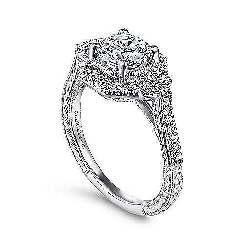 Unique 14K White Gold Art Deco Halo Diamond Engagement Ring