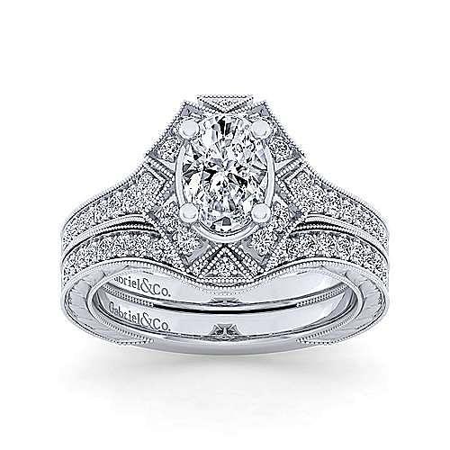 Unique 14K White Gold Art Deco Oval Halo Diamond Engagement Ring