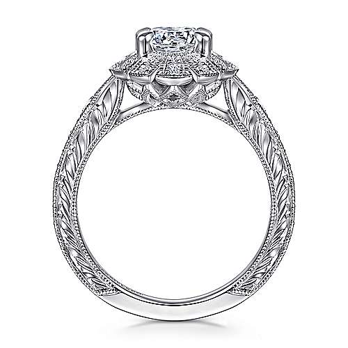 Unique 14K White Gold Art Deco Oval Halo Engagement Ring