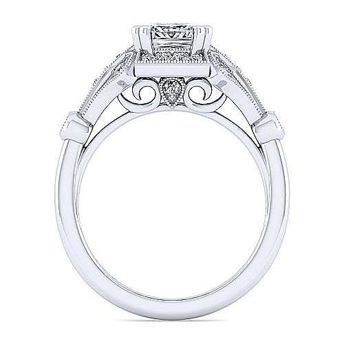 Unique 14K White Gold Art Deco Princess Cut Halo Diamond Engagement Ring