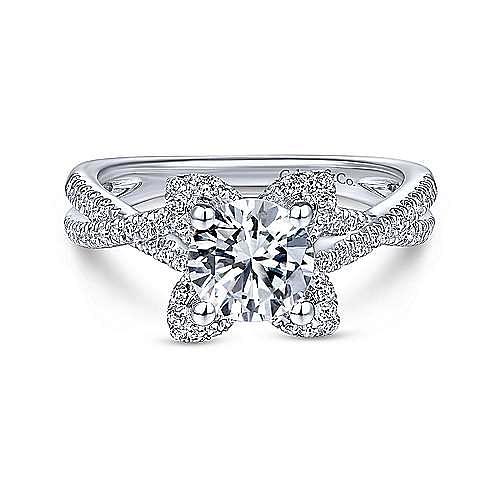 Unique 14K White Gold Halo Diamond Engagement Ring