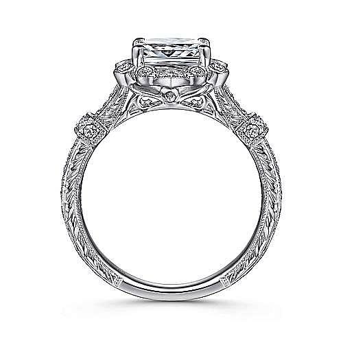 Unique 14K White Gold Vintage Cushion Cut Halo Engagement Ring