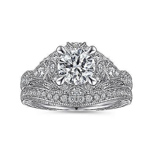 Unique 14K White Gold Vintage Halo Engagement Ring