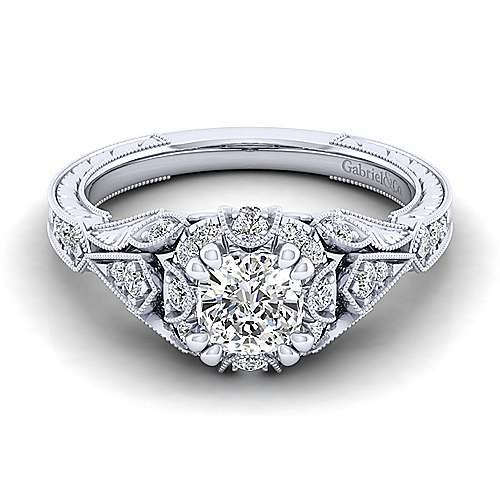 Unique 14K White Gold Vintage Inspired Cushion Cut Diamond Halo Engagement Ring