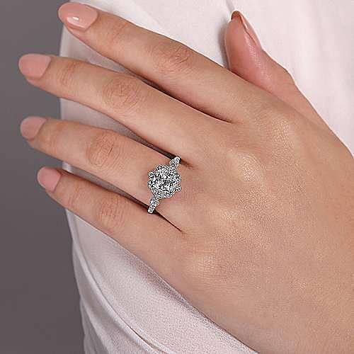 Unique 14K White Gold Vintage Inspired Cushion Cut Halo Diamond Engagement Ring