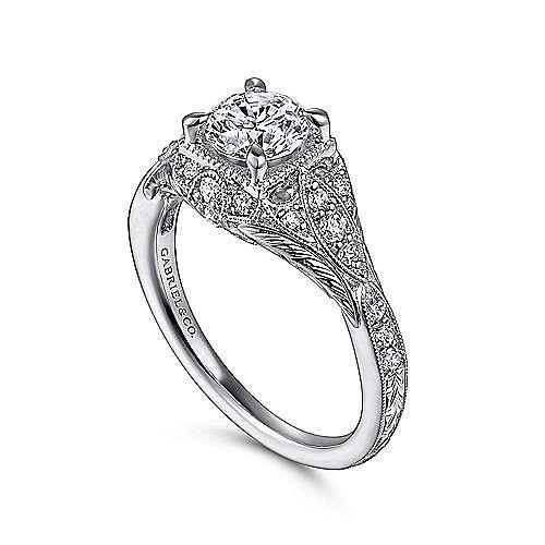 Unique 14K White Gold Vintage Inspired Diamond Halo Engagement Ring