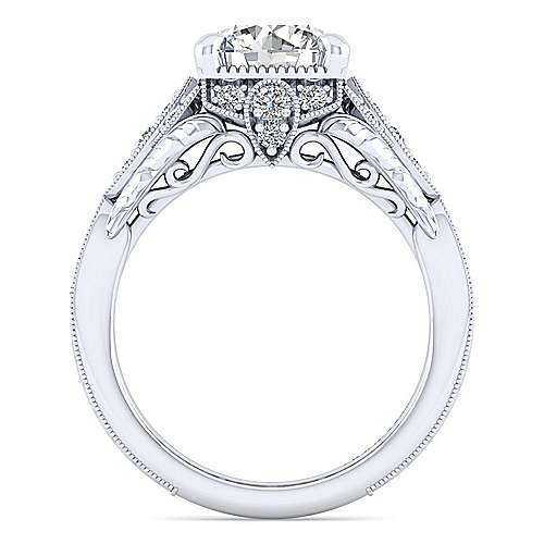 Unique 14K White Gold Vintage Inspired Diamond Halo Engagement Ring