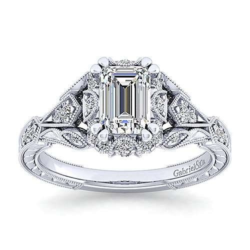Unique 14K White Gold Vintage Inspired Emerald Cut Diamond Halo Engagement Ring