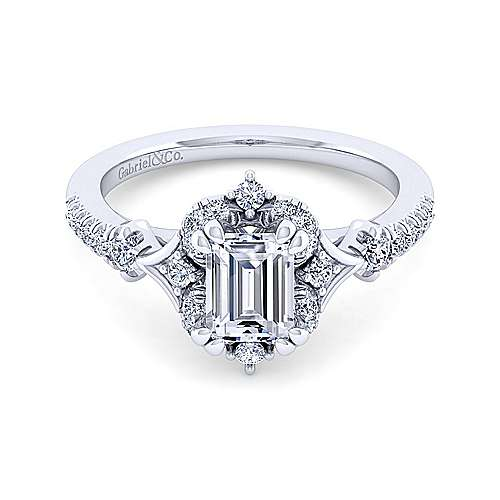 Unique 14K White Gold Vintage Inspired Emerald Cut Halo Diamond Engagement Ring