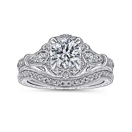 Unique 14K White Gold Vintage Inspired Halo Diamond Engagement Ring