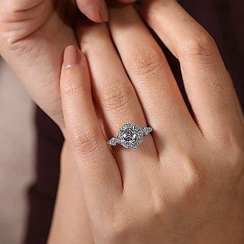 Unique 14K White Gold Vintage Inspired Halo Diamond Engagement Ring