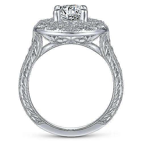 Unique 14K White Gold Vintage Inspired Halo Engagement Ring