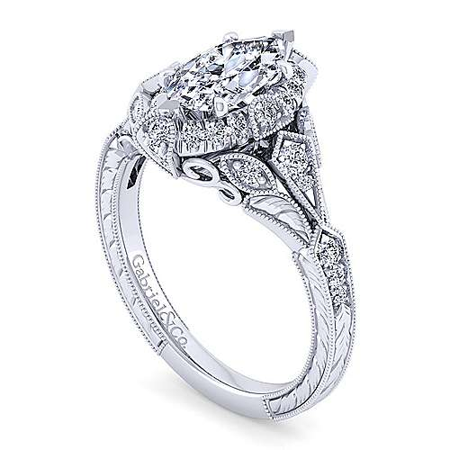 Unique 14K White Gold Vintage Inspired Marquise Shape Diamond Halo Engagement Ring