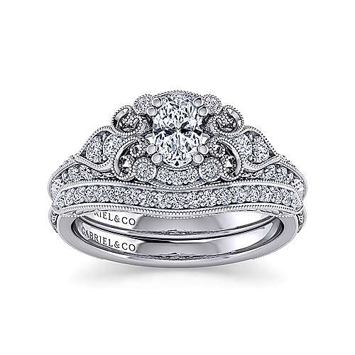 Unique 14K White Gold Vintage Inspired Oval Diamond Halo Engagement Ring