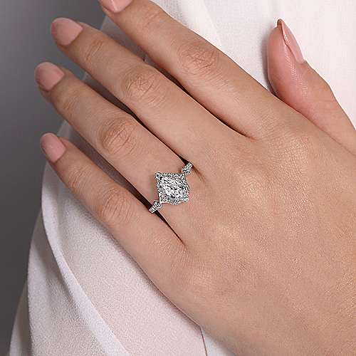 Unique 14K White Gold Vintage Inspired Pear Shape Halo Diamond Engagement Ring