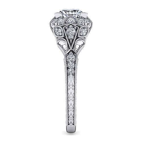 Unique 14K White Gold Vintage Inspired Princess Cut Diamond Halo Engagement Ring