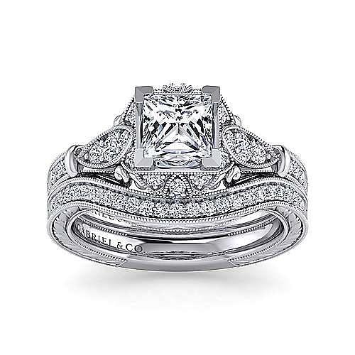 Unique 14K White Gold Vintage Inspired Princess Cut Halo Diamond Engagement Ring