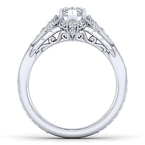 Unique 14K White Gold Vintage Marquise Shape Halo Engagement Ring