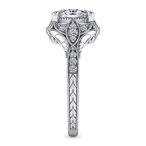 Unique 14K White Gold Vintage Oval Halo Engagement Ring